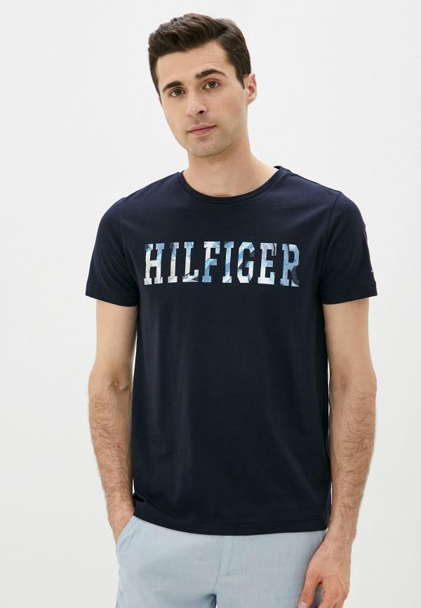 мужская футболка с коротким рукавом tommy hilfiger, синяя