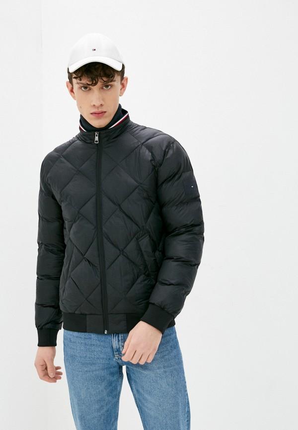 мужская утепленные куртка tommy hilfiger, черная