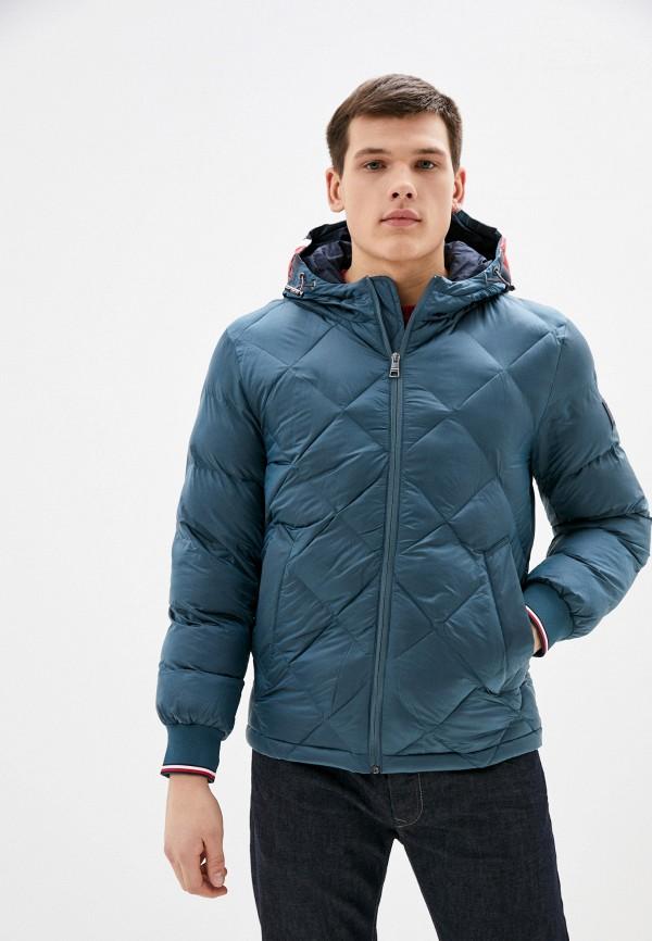мужская утепленные куртка tommy hilfiger, бирюзовая