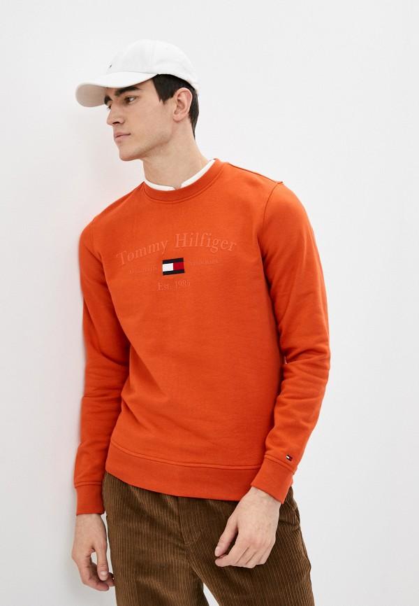 мужской свитшот tommy hilfiger, оранжевый