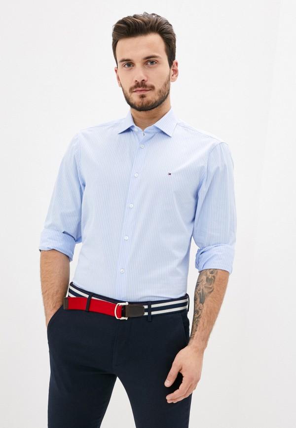 мужская рубашка с длинным рукавом tommy hilfiger, голубая