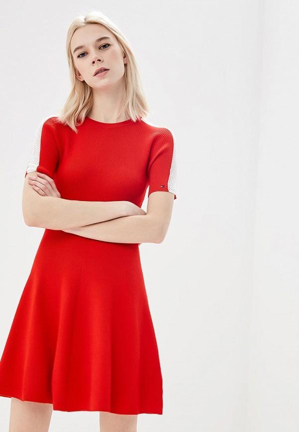 Купить Женское вязаное платье Tommy Hilfiger красного цвета