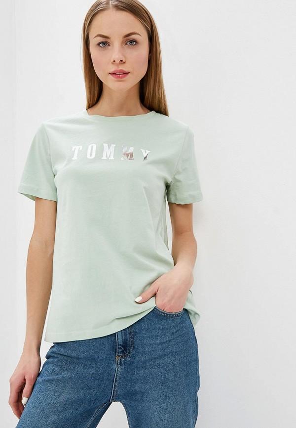 женская футболка tommy hilfiger, зеленая