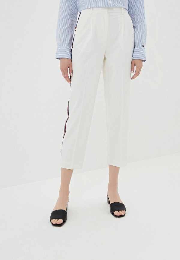 женские классические брюки tommy hilfiger, белые
