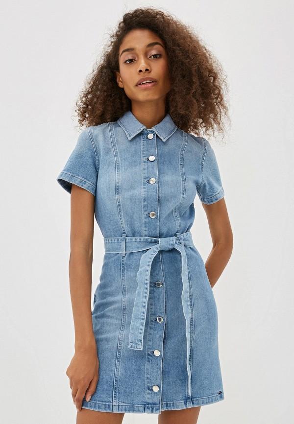 женское джинсовые платье tommy hilfiger, синее