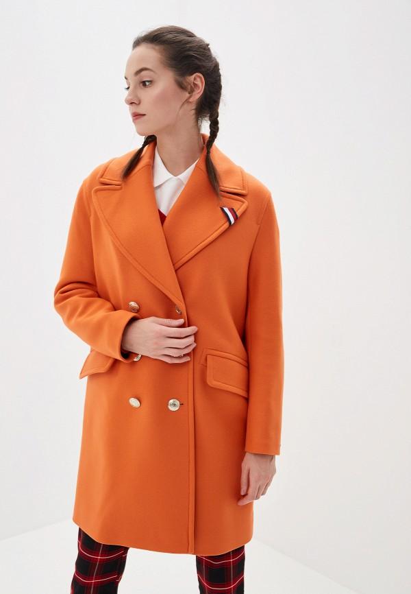 женское пальто tommy hilfiger, оранжевое