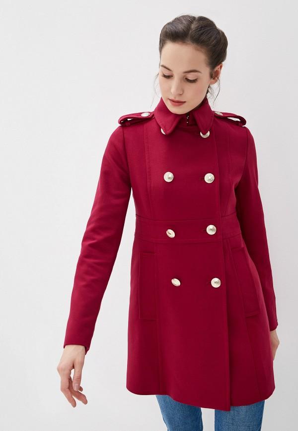 женское пальто tommy hilfiger, бордовое