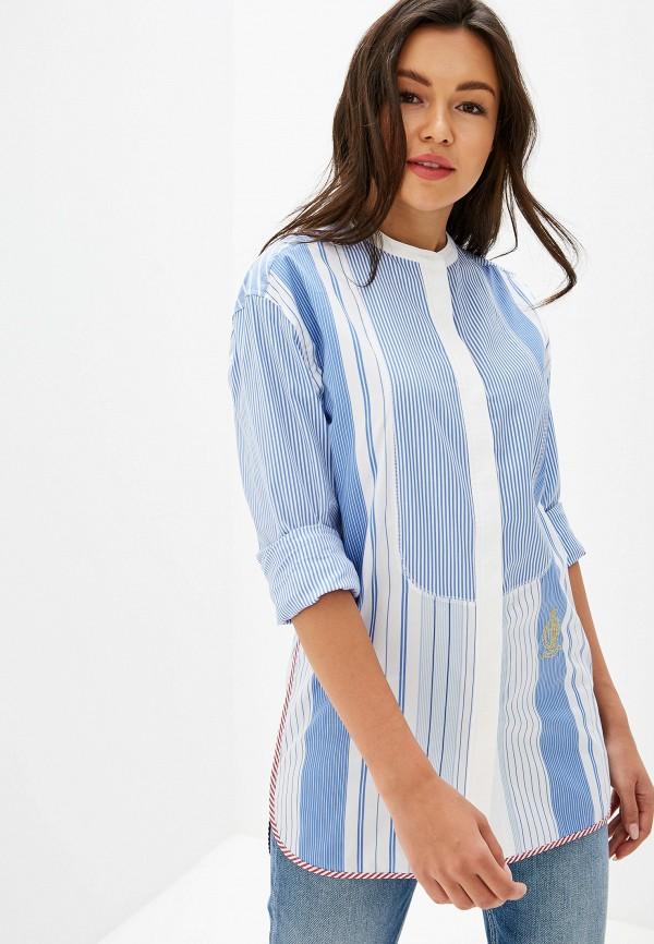 женская рубашка с длинным рукавом tommy hilfiger, голубая