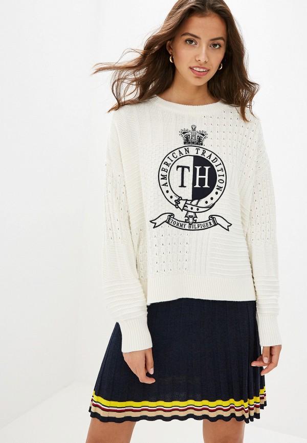 женский свитер tommy hilfiger, белый