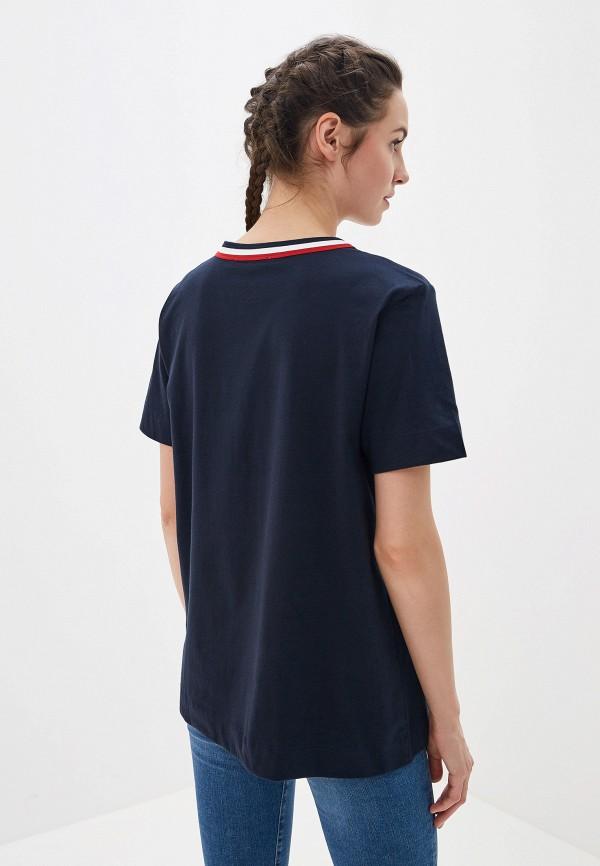 Фото 2 - женскую футболку Tommy Hilfiger синего цвета