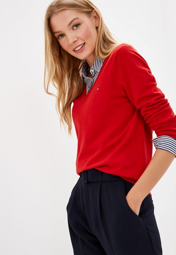 женский пуловер tommy hilfiger, красный
