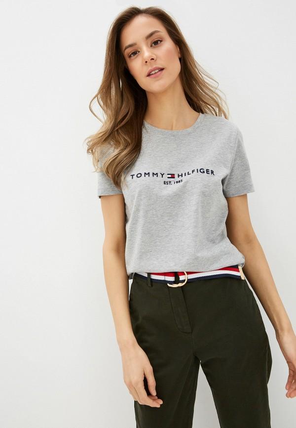 женская футболка tommy hilfiger, синяя