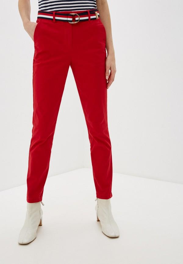 женские повседневные брюки tommy hilfiger, красные