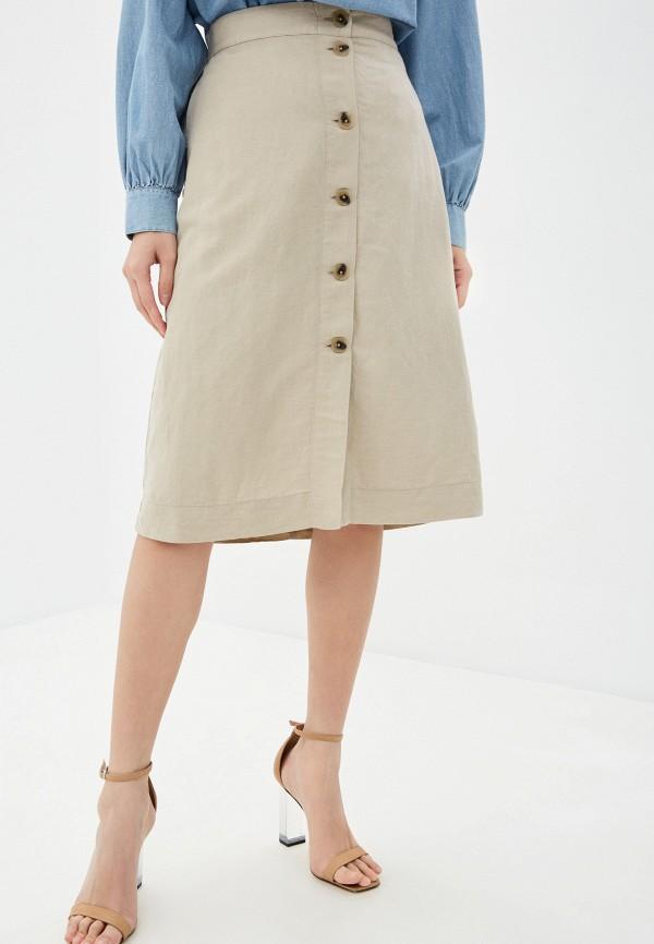 женская юбка-трапеции tommy hilfiger, бежевая