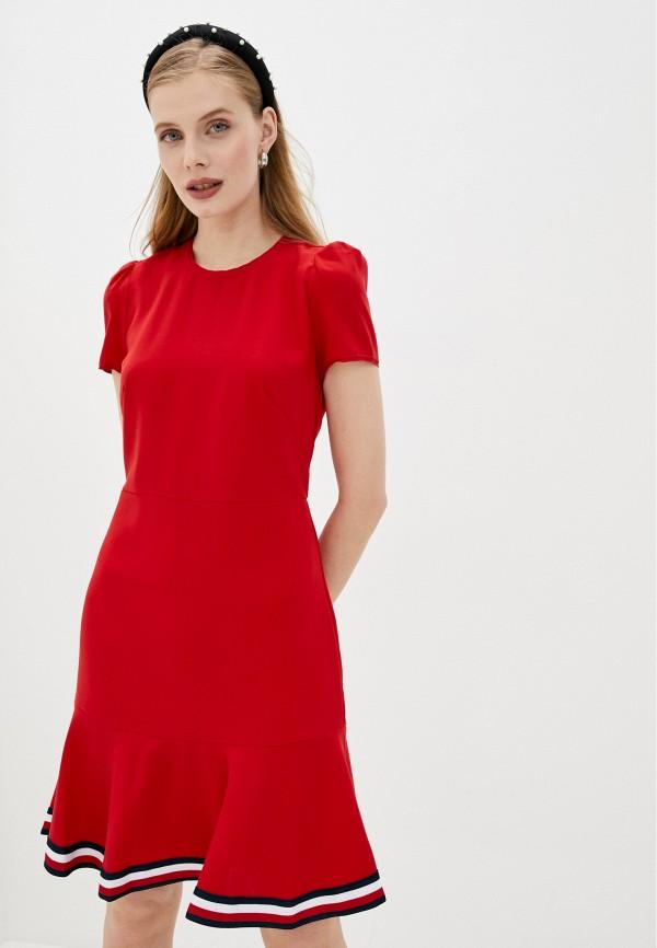 женское повседневные платье tommy hilfiger, красное