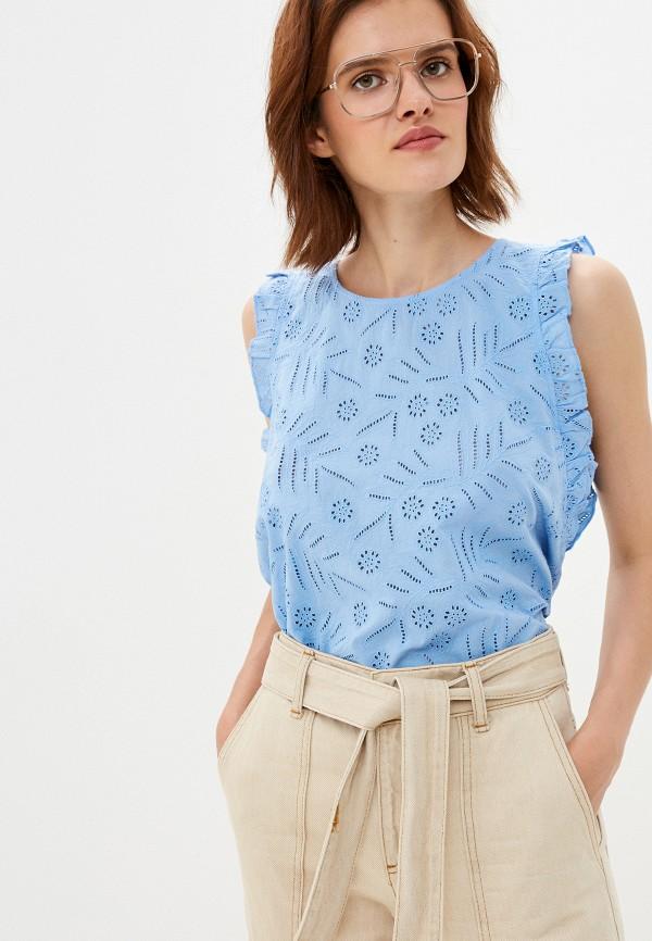 женская блузка tommy hilfiger, голубая