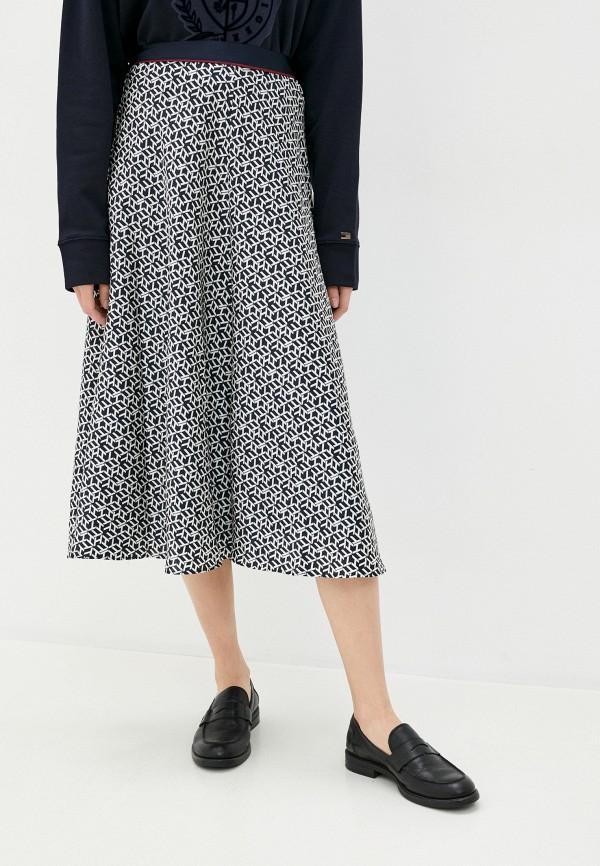 женская юбка-трапеции tommy hilfiger, синяя