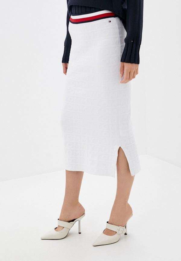 женская прямые юбка tommy hilfiger, белая
