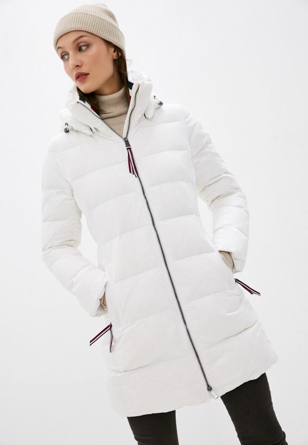 женская утепленные куртка tommy hilfiger, белая