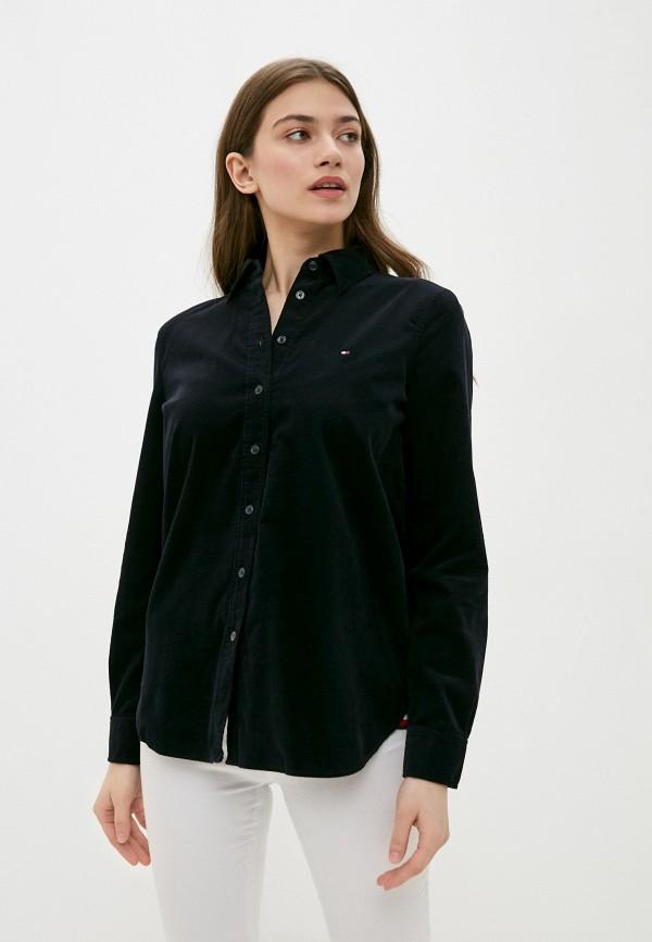женская рубашка с длинным рукавом tommy hilfiger, синяя