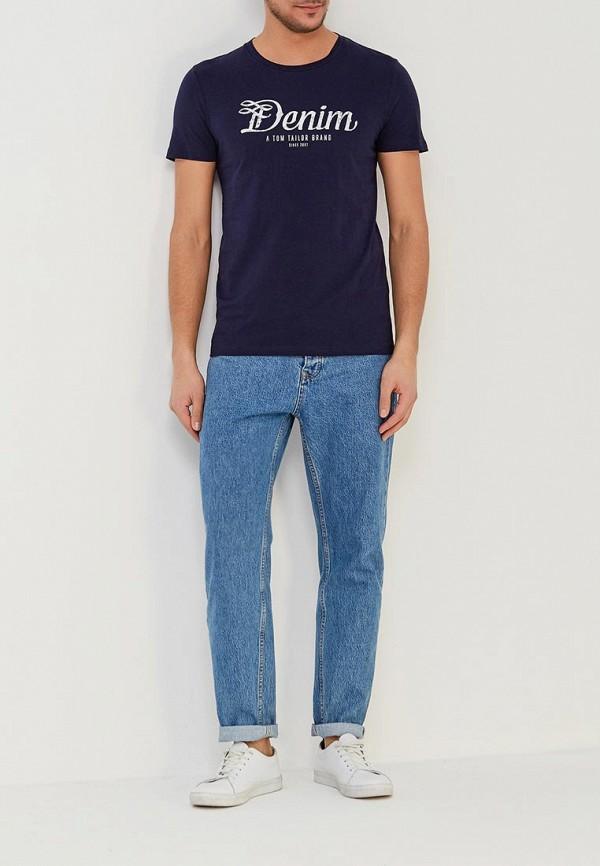 Фото 2 - мужскую футболку Tom Tailor Denim синего цвета