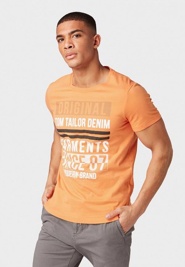 мужская футболка с коротким рукавом tom tailor, оранжевая