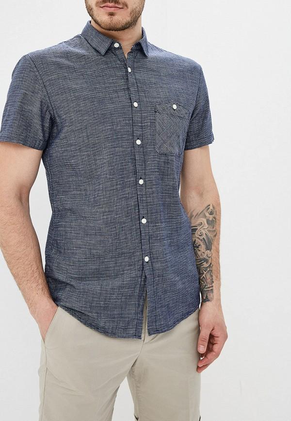 мужская рубашка с коротким рукавом tom tailor, синяя