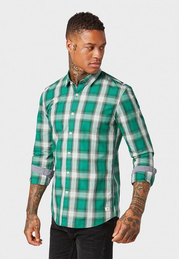 мужская рубашка с длинным рукавом tom tailor, зеленая