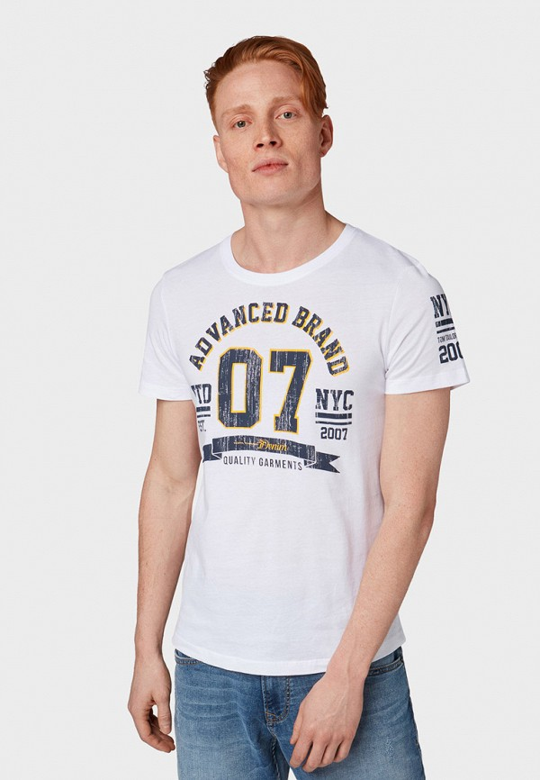 мужская футболка с коротким рукавом tom tailor, белая
