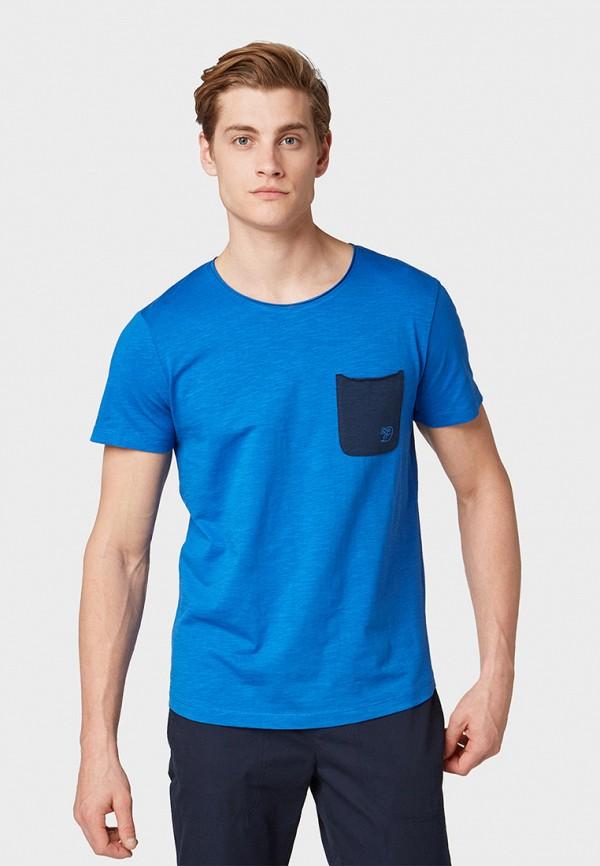 Фото - мужскую футболку Tom Tailor Denim синего цвета