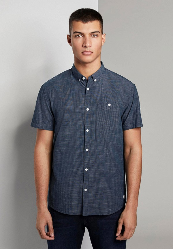 мужская рубашка tom tailor, синяя