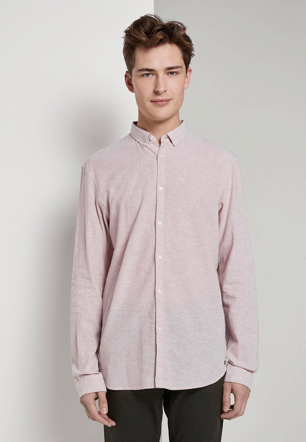 мужская рубашка с длинным рукавом tom tailor, бежевая