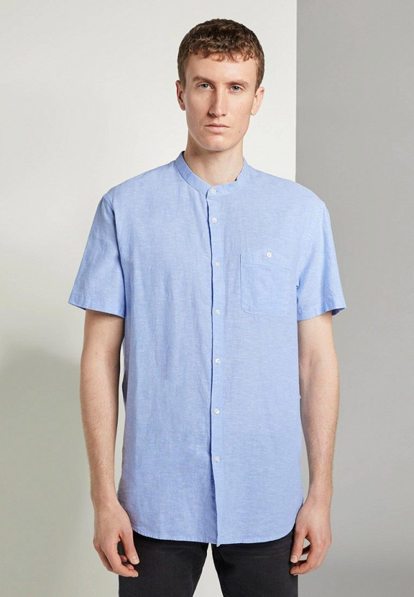 мужская рубашка с коротким рукавом tom tailor, голубая