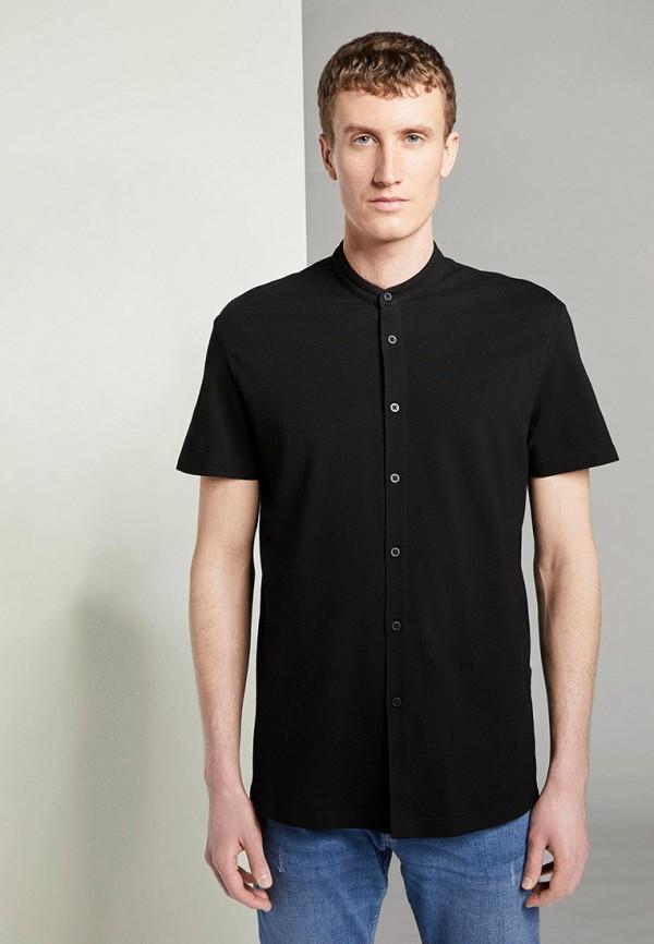 мужская рубашка с коротким рукавом tom tailor, черная