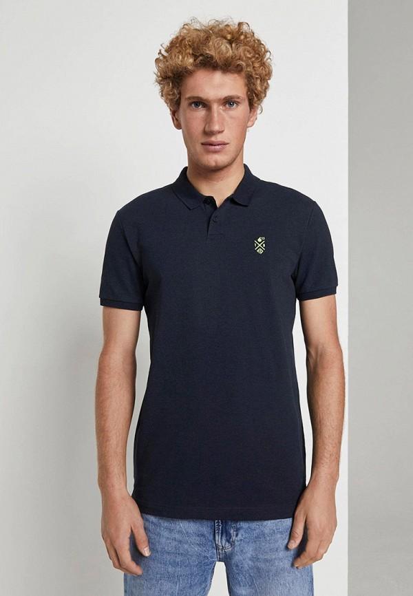 мужское поло с коротким рукавом tom tailor, синее