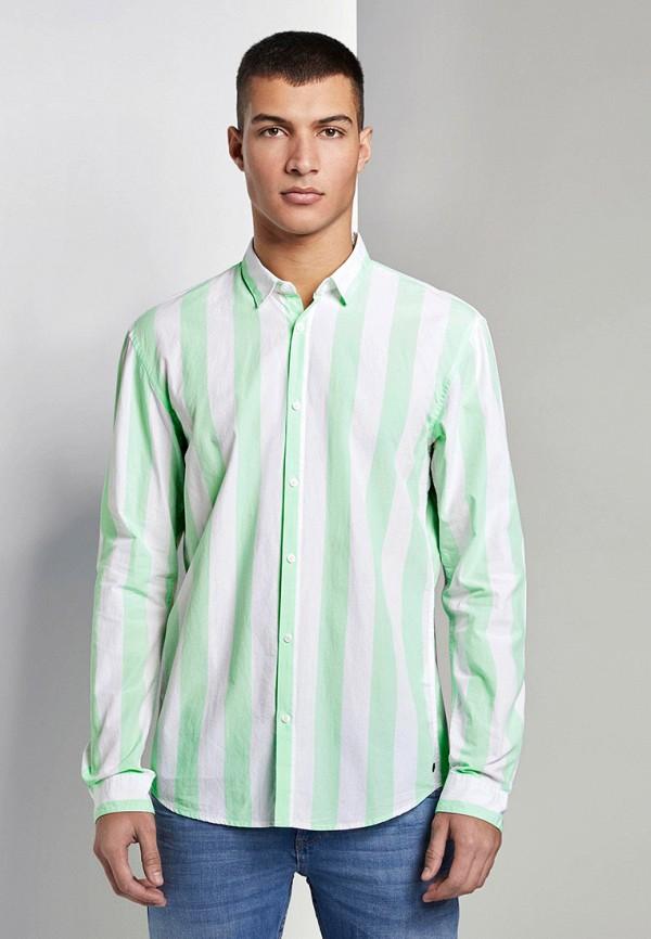 мужская рубашка с длинным рукавом tom tailor, бирюзовая