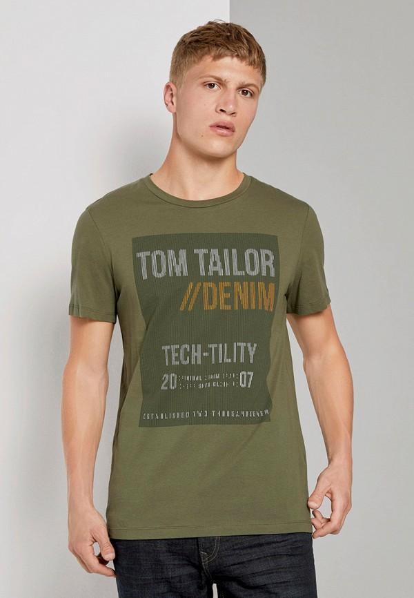 мужская футболка с коротким рукавом tom tailor, хаки