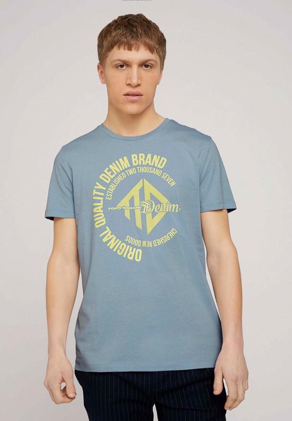 мужская футболка с коротким рукавом tom tailor, голубая
