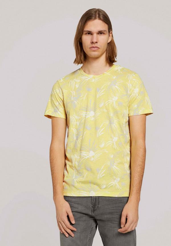 мужская футболка с коротким рукавом tom tailor, желтая