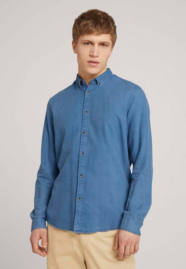 мужская джинсовые рубашка tom tailor, голубая