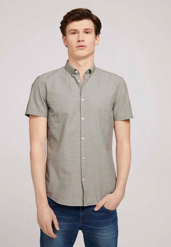 мужская рубашка с коротким рукавом tom tailor, серая