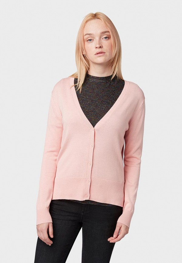женский кардиган tom tailor, розовый