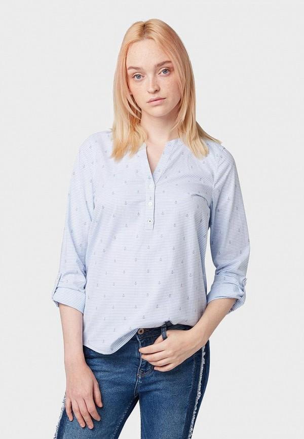 женская блузка tom tailor, голубая