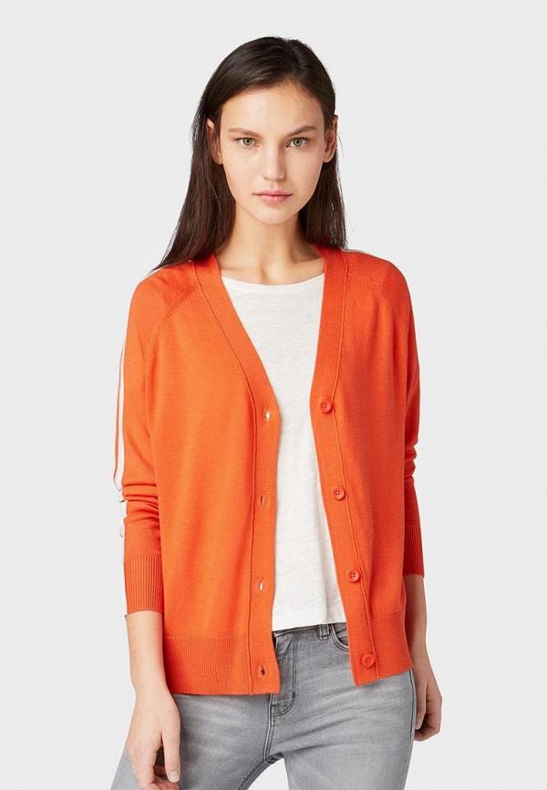 женский кардиган tom tailor, оранжевый