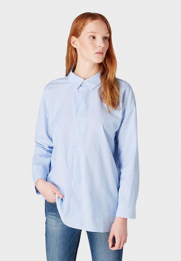 женская рубашка с длинным рукавом tom tailor, голубая