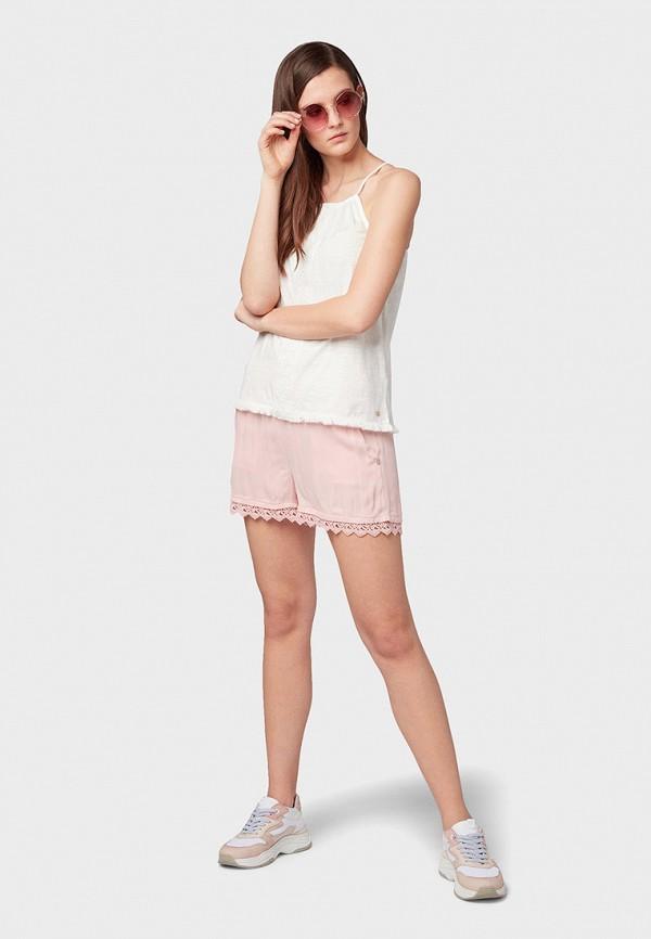 Фото 2 - женские шорты Tom Tailor Denim розового цвета