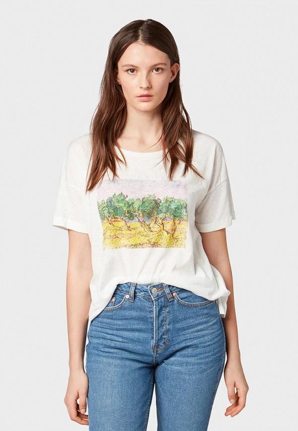 женская футболка tom tailor, бежевая