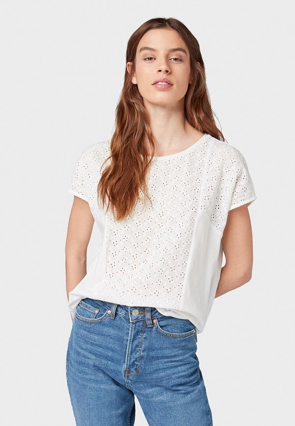 женская футболка с коротким рукавом tom tailor, белая