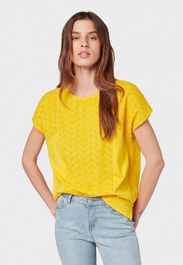 женская футболка с коротким рукавом tom tailor, желтая