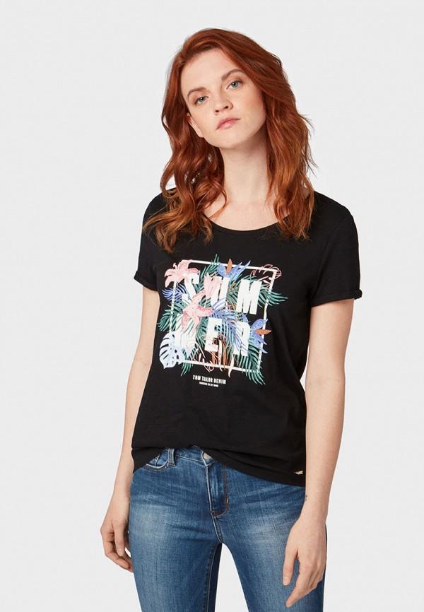 женская футболка tom tailor, черная